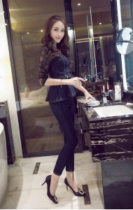 KST10159923N Denim peplum pants suit Actual Photo