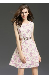 BDS10165606YS Celebrities embroidery midriff floral short dress Actual Photo