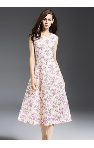 BDS10165606YN Celebrities embroidery V back floral midi dress Actual Photo