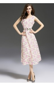 BDS10165606YM Celebrities embroidery midriff floral midi dress Actual Photo