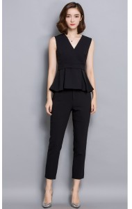 KST10161381B V neck peplum pants suit Actual Photo