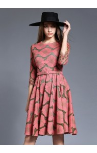 BDS10192308Y Embroidery middle sleeves midi belted dress Actual Photo