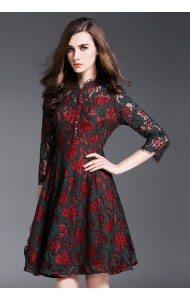 BDS11046856X High neck full lace skater dress Actual Photo