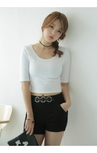 KTP1119214C U neck middle sleeves t shirt Actual Photo