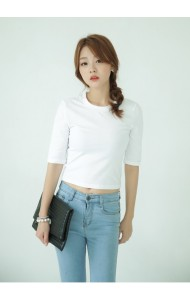 KTP1119414C Hight neck middle sleeves t shirt Actual Photo