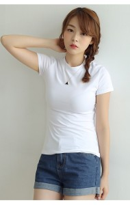 KTP1120110C Hight neck short sleeves t shirt Actual Photo