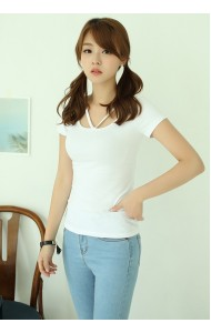 KTP1120130C V neck short sleeves t shirt Actual Photo