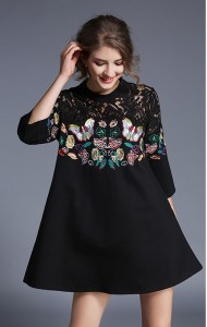 BDS12045605X Embroidery butterfly dress with lace shoulder Actual Photo