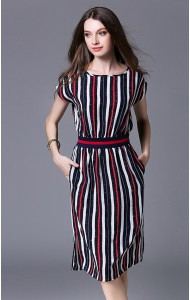 BDS12042895X Stripes midi dress with pocket Actual Photo