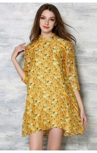 BDS12041885X Bird print cheongsum silk dress Actual Photo