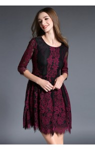 BDS12049266X Purple lace dress Actual Photo