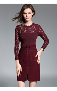 BDS12052588H OL belted lace dress Actual Photo