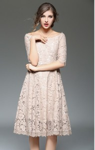 BDS12100408Y Off shoulder lace midi dress Actual Photo