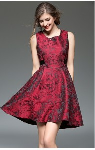 BDS12101408Y Jacquard flared dress with back bow Actual Photo
