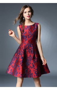 BDS12101128Y Slim jacquard flared dress Actual Photo