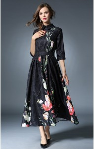 BDS12108468Y Jacquard floral maxi dress Actual Photo