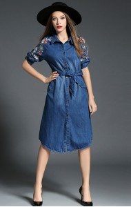 BDS12115105X Roll up sleeves embroidery denim midi dress Actual Photo