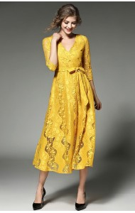 BDS12213139H Full lace overlapping yellow maxi dress Actual Photo