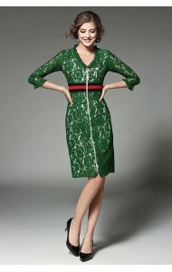 BDS12218039H V neck green lace dress Actual Photo