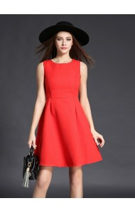 BDS12217529H Jacquard skater dress in red Actual Photo