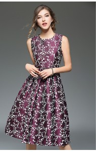 BDS12215308Y Jacquard belted skater dress in purple Actual Photo