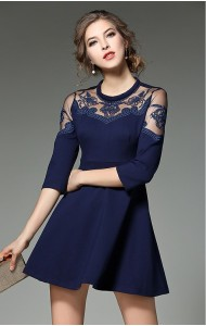 BDS12239766L Embroidery mesh shoulder skater dress Actual Photo