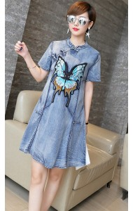 KDS12239801M Embroidery butterfly denim cheongsum Actual Photo