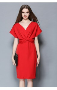 BDS1224860T V neck bat wing chiffon dress Actual Photo