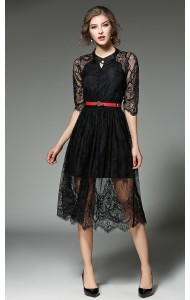 BDS12255015X Lace slim dress Actual Photo