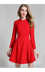 BDS1226980T Long sleeves skater cheongsum dress Actual Photo