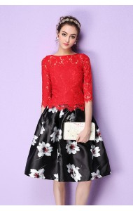 BSK1227326H Printed skater floral skirt Actual Photo