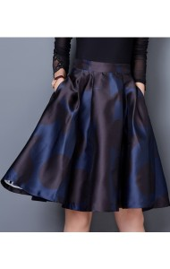 KSK1227567M Printed flared skirt in blue Actual Photo