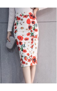KSK12285623H Plues size white skirt with flower print Actual Photo