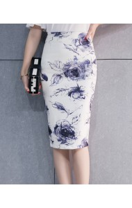 KSK12287623H Plus size white skirt with blue flower Actual Photo