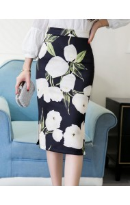 KSK12288623H Plus size blue skirt with white flower Actual Photo