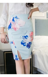 KSK12288523H Plus size split floral pencil skirt Actual Photo