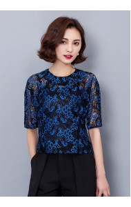 KTP12315026L Bat wing 2-piece lace blouse in black Actual Photo