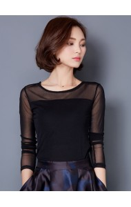 KTP1231836M Basic mesh sleeves blouse in 7 colors Actual Photo