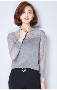 KTP12316101M Knit blouse with lace sleeves Actual Photo