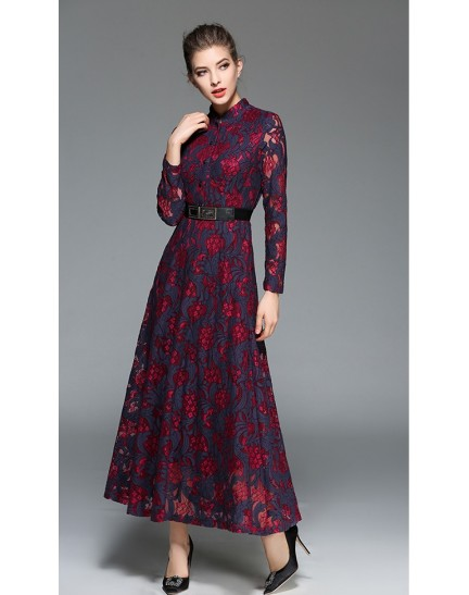 BDS02139408Y Long sleeves belted maxi dress ACTUAL PHOTO