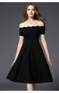 BDS0213301T Off shoulder dress with scallop trim ACTUAL PHOTO