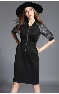 BDS0213900T Stylish front zip pencil dress ACTUAL PHOTO