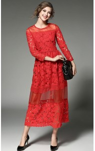 BDS0213782H Red crochet maxi dress ACTUAL PHOTO