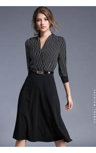 BDS02148705X 2017 stripes overlap belted dress ACTUAL PHOTO