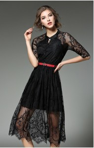 BDS02145105X Full lace belted slim dress ACTUAL PHOTO