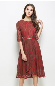 BDS02142707D 2017 lace irregular belted dress ACTUAL PHOTO