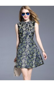 BDS03044606H Jacquard dress with crystal decoration ACTUAL PHOTO