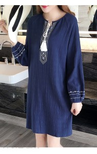 PDS03101090O Plus size linen embroidery dress ACTUAL PHOTO