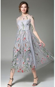 BDS031321157X Embroidery organza maxi dress ACTUAL PHOTO