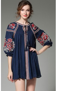 BDS031360868L Embroidery puff sleeves dress/ blouse ACTUAL PHOTO